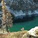 Lago d'Alzasca, visibile la neve ghiacciata che ricopre il ripido pendio sotto la Cima di Doia.