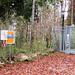 Der Start am Fernsehturm. Es geht nicht nach links dem Velo-Schild nach sondern geradeaus in den Wald.