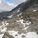 Schutt-Schnee Passage hinter der Bocchetta del Lago Nord