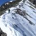 Heiko nimmt den breiten Gipfelgrat in Angriff