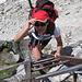 La scala che scende dal Pas des Chevres.