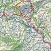 Ungefähre Route Brückenweg Obertoggenburg Nord