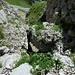 Anschließend verlässt man das Bachbett nach links, um zur anfänglichen Kletterstelle zu gelangen.