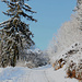La carrozzabile è coperta di neve fresca