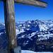 Mürtschenstock umrahmt vom Gipfelkreuz
