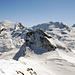 Gipfelblick zum Titlis, mit Fernsehtrum, und Graustock.