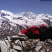 Pause face au Mont Rose