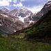 Anmarsch zur Braunschweiger Hütte. Das Zungenende des (damals noch) mächtigeren Mittelbergferners bildet den alpinen Abschluss des Pitztales.