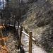 Befestigtes Wegstück an einem nassen Hang