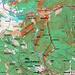 Meine Route auf den Gipfel von Pec pod Snĕžkou (769m). Es ist auch der Normalweg beim Aufstieg von der tschechischen Seite.
