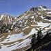 Hier beim Skiliftende vom Grat in die Mulden...