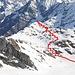 <b>Mittagskogel (3162 m), con il tracciato che ho seguito per raggiungerlo</b>.