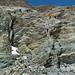 Über Leitern geht es auf den Gletscher runter