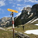 Kamor to the left of the sign post, Hoher Kasten to the right of it, an Appenzeller below Hoher Kasten