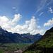 Links der Gitschen in den Wolken, dann Oberbauen und Niederbauen. Rechts Eggbergen.
