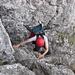 typische Kletterei im Gipfelkamin des Kleinen Mythens