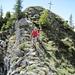 Übergang vom Gipfelkreuz zum Anstieg zum Nord-Gipfel