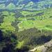 Blick vom Bluemhorn talwärts, in der Bildmitte der Ausgangsort Schöriz