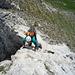 Jetzt geht's nochmals zur Sache! Guter Fels in einer steilen Stufe (III) kurz vor dem Hauptgipfel