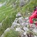die kurze, ausgesetzte Kletterstelle beim Weiterweg über den Grat zur Fochseflue
