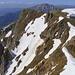 """Blick vom Gipfel in die """"Rote Rinne"""" deren Befahrung noch problemlos möglich ist"""
