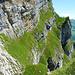 Blick zurück. Unten das Grasband das zur Kletterstelle lll Grad führt mit der Höhle rechts (Blau). Danach das abschüssige Band. Und unter dem Bild (nicht mehr zu sehen) der Kalk aufschwung zum Drahtseil.