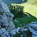Tiefblick über die zweite Felsstufe am Sichelchamm Nordgrat