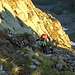 Erste mit Ketten gesichterte Kletterstelle gleich zu Beginn der Route.