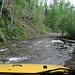 Nach der Tour - Blick aus dem Jeepfenster während der Fahrt vom Nellie Creek Trailhead (4WD) nach Lake City. Hier: Durchfahren des Nellie Creek (untere der beiden Flussquerungen).