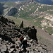 Aufstieg zum Uncompahgre Peak - Kurz vor Erreichen des Gipfelplateaus. Im Geröllhang.