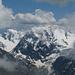 Links Mont Brulé (3585m), Bildmitte Mont Collon (3637m), rechts L' Evéque (3716m)