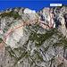 Der Verlauf des Klettersteiges, der immer die beste Qualität des Felsens sucht.