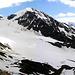 Der Monte Pasquale über dem Vedretta Cedec - und eisiger Wind aus Westen gestalten unseren gemütlichen Hüttenanstieg zunehmend unangenehm.