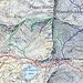 In blu e rosso i sentieri ufficiali. In verde i miei tragitti di andata e ritorno (anello) dal Pizzo Biela
