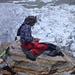 Der grosse Bergsteigerveteran aquarelliert die Eisberge des Gornersees