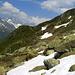 vorne der Wanderweg zur Hütte,oberhalb Blacki.