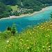 Klöntalersee, ein grosser Teil vom Aufstieg führt durch satte Blumenwiesen (Gruess a min Heupfnüsel)