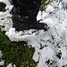 Schneepappe unter den Schuhen, nasses Gras und Schutt: Viel weiter gings nicht.
