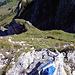 Blick zurück, Couloir und darauf folgenden steilen Grashang