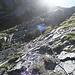Ein Steiles und durch den Schotter rutschiges Stück