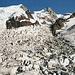 Bossonsgletscher mit den Viertausendern Mont Blanc du Tacul und Mont Maudit.