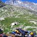 Blick von der Hütte zum Wetterhorn. Rechts vom Wetterhorn erreicht man den Wettersattel.