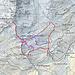 La cartina con il percorso di andata e ritorno. In blu il percorso giusto o in alternativa quello in viola.