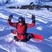 Jere, der schnelle Snowboarder vor der Abfahrt durch die Zastrugis