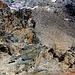 Tiefblick von der Hohenwartscharte (3182m) hinunter über die Felsstufe mit dem gesicherten Steig. Unten ist das steile Geröllfeld mit der Zustiegsspur zu sehen. Schwierig ist der Zustieg (T5) zur Erzherzog-Johann-Hütte nicht, man sollte aber schwindelfrei sein und elementare Grundkenntnisse im Steigeisengehen haben.