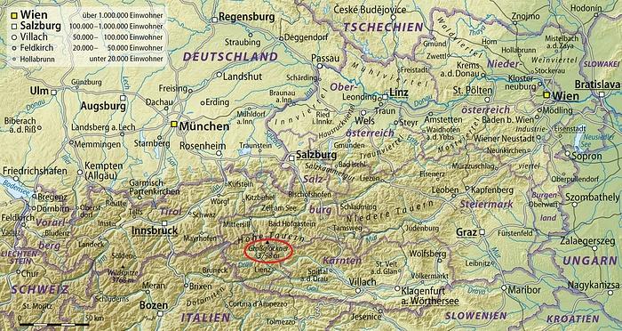 Großglockner Karte.Karte Mit Der Lage Vom Großglockner 3798m In Hikr Org