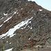 Abstieg vom Grat ins Fernaujoch. Brüchig und steil.