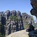 der größere der beiden Schrammsteine - ungefähr am Einstieg in die Kletterpartie der Frühstücksplatzroute