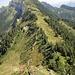 Rückblick zum Widderfeld - und Tiefblick zu der möglichen Aufstiegsvariante direkt am Ostgrat (wohl im T6-Bereich - Danke [u Axi]!)