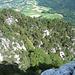 Blick nach unten, unser Aufstieg zwischen den Bäumen